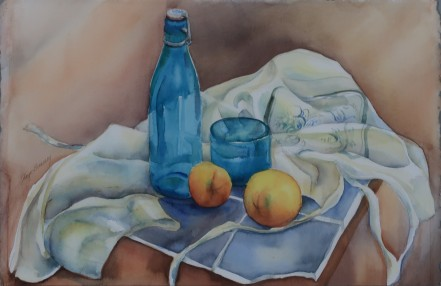 "Blue and Oranges 32x24"" $250"
