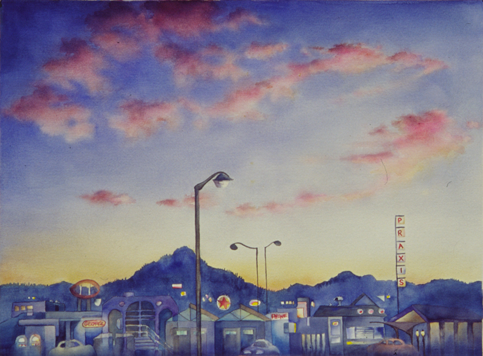 Coburg Road at twilight painting