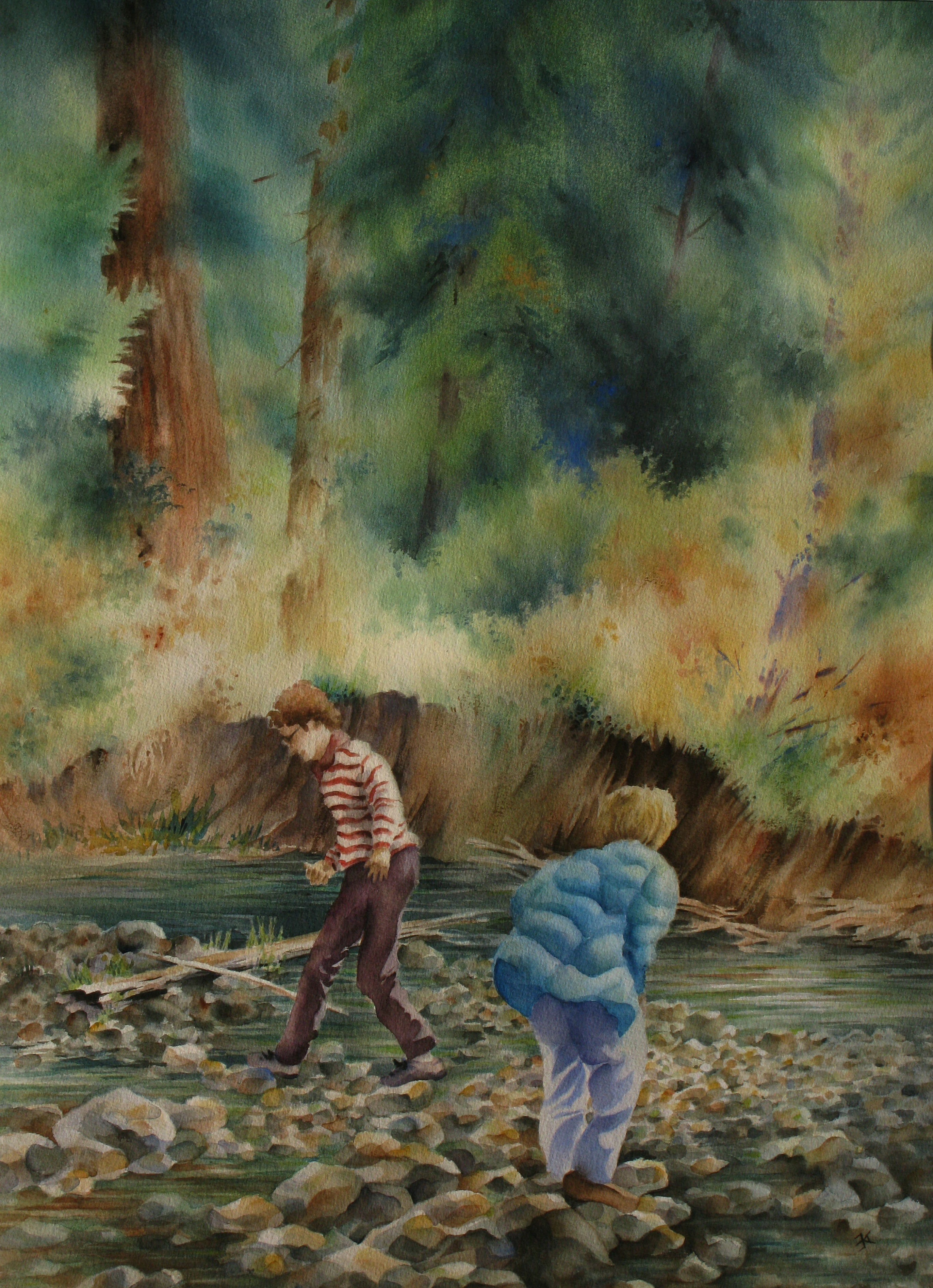 Two guys rock hopping painting