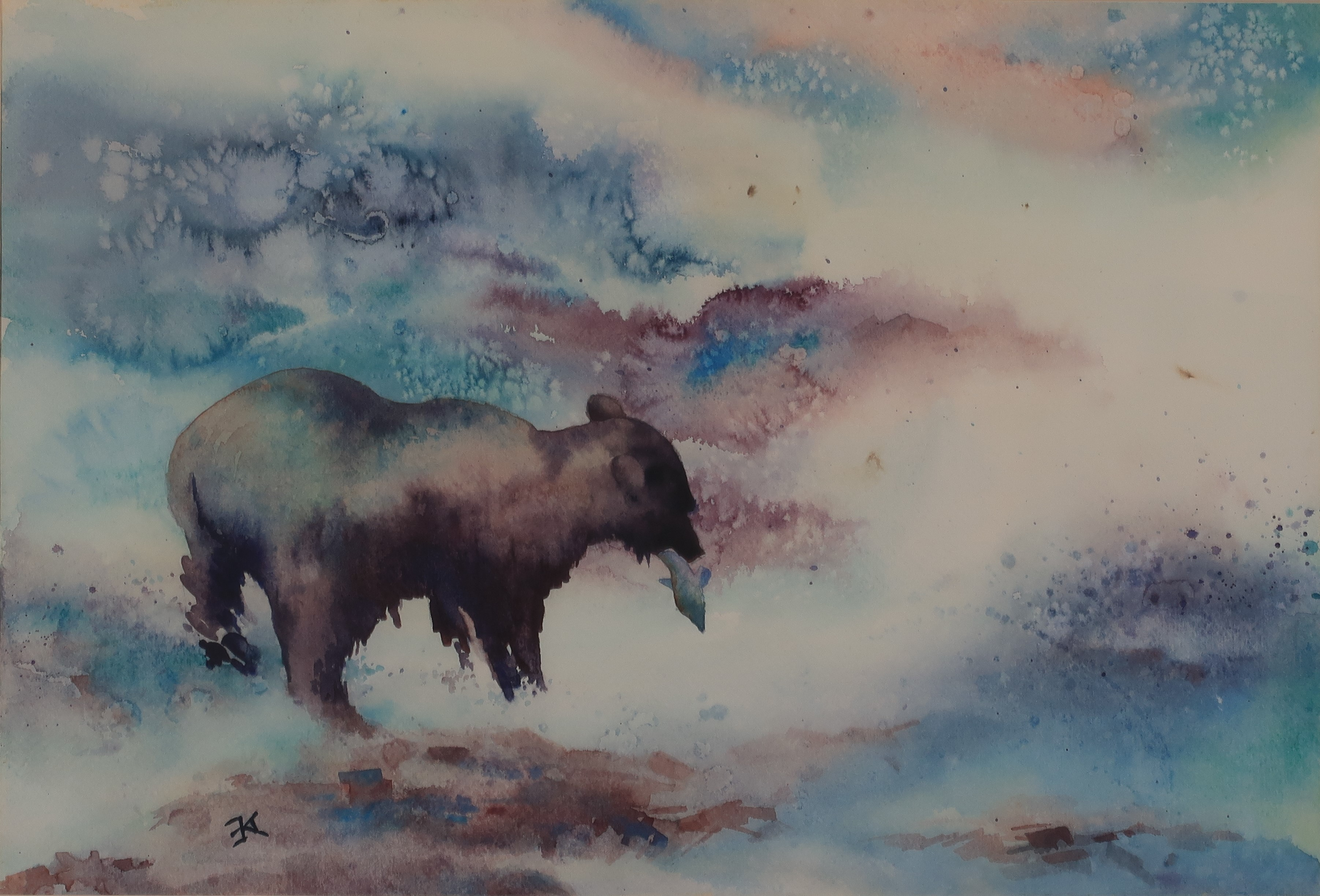 fishing bear painting