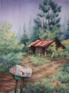 mailboxes and barn painting