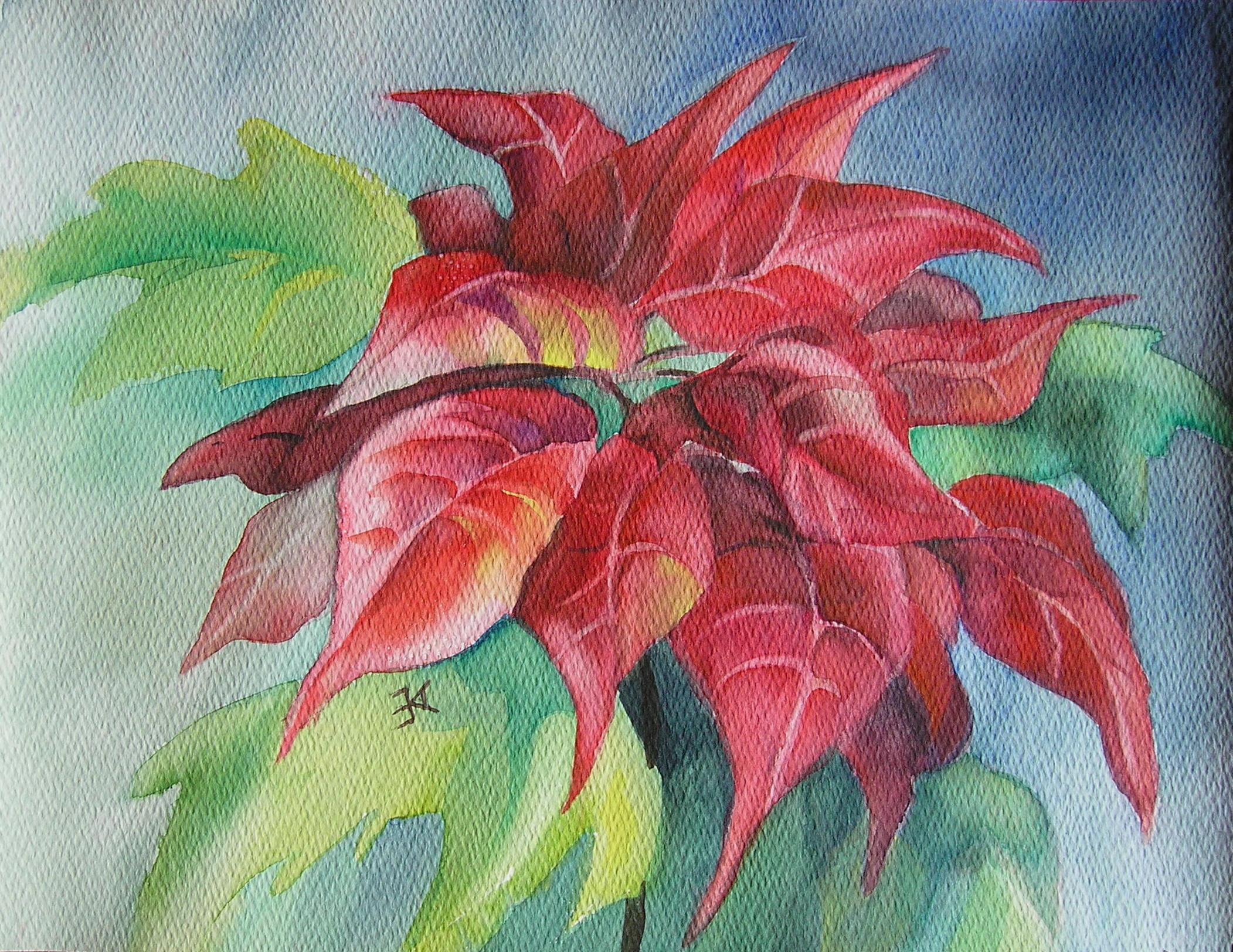 Poinsettia painting