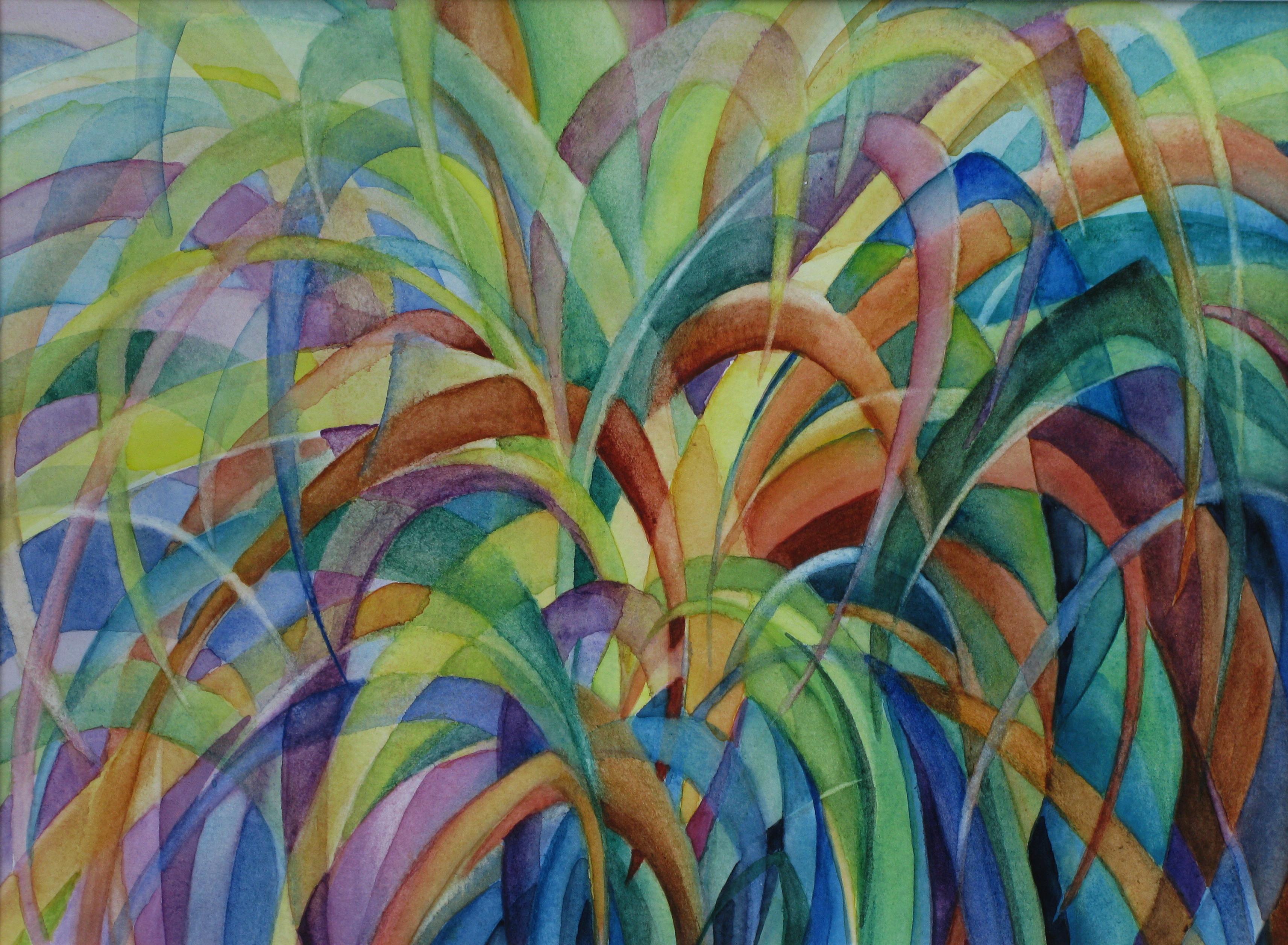 rainbow grasses painting