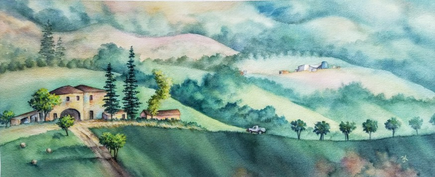 """Morning in Tuscany 36x18"""" $750"""