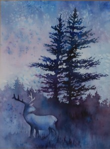 Deer and trees painting